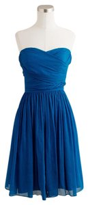 J.Crew Silk Chiffon Strapless Blue Petite Dress