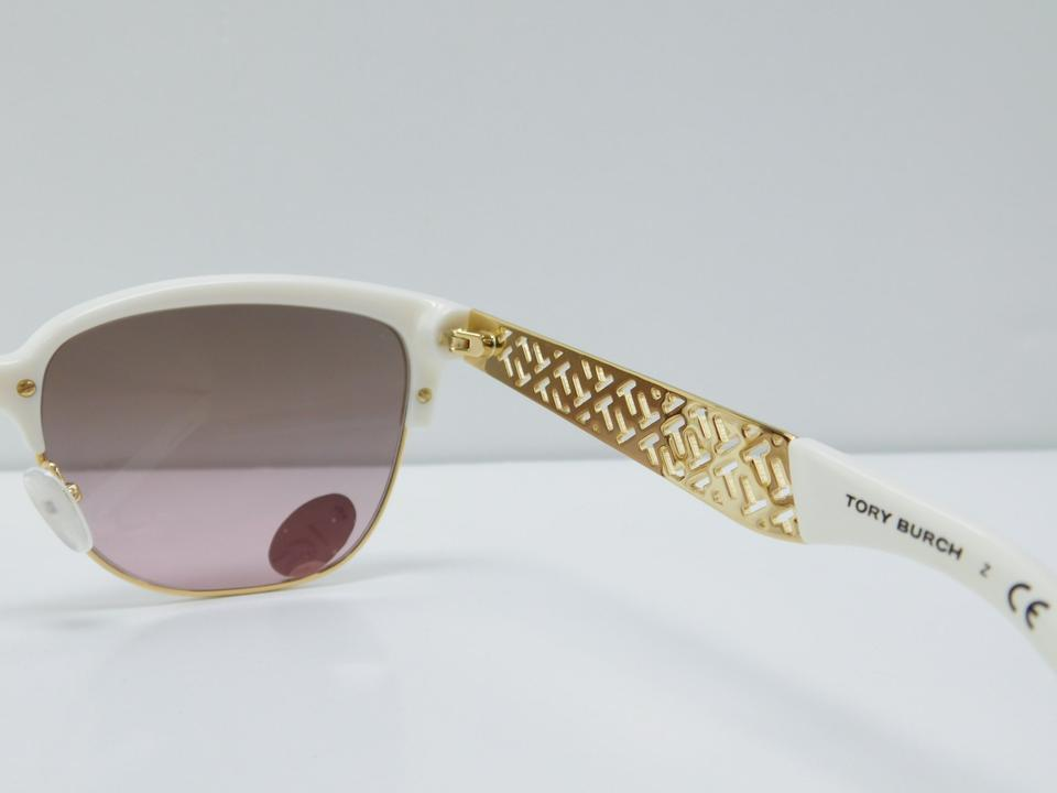 35c5f99ee90 Tory Burch White Gold Frame Gradient Lens New Ty 6032 3015 14 ...