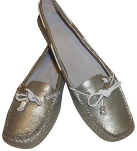 Michael Kors Leather Loafer Silver Metallic Flats