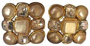 Chanel Vintage Chanel Pearl/Crystal Clip-on Earrings