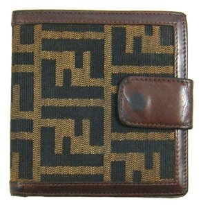 Fendi Brown Zucca Canvas Leather Bifold Snap 10x Credit Card Wallet Italy