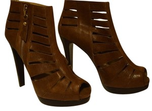 Stuart Weitzman Cut-out Peep Toe High Heel Toffee Boots