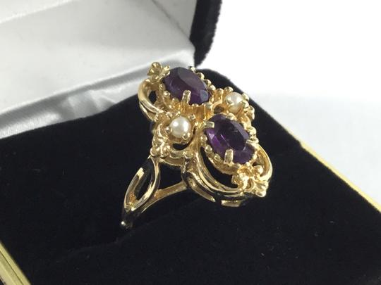 Other Heavy Vintage 14K Amethyst/Seed Pearl Ring