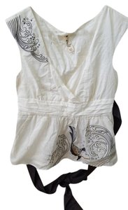 Floreat Anthropologie Embroidered Top Ivory with black, gold, and grey