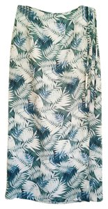 Liz Claiborne Leaf Wrap Silk Maxi Skirt teal, cream