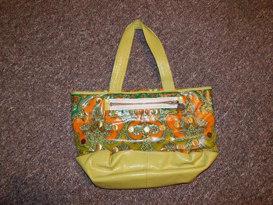 Plenty by Tracy Reese Boho Bohemian Moroccan Unique Tote in Green and Orange