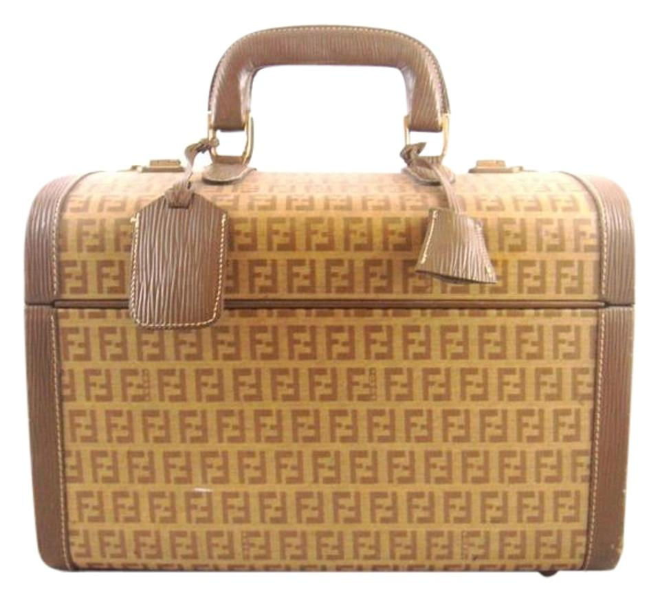 9aa9c19446d Fendi Vintage FENDI Brown Zucca Cosmetics Travel Luggage Case Bag Italy  Image 0 ...