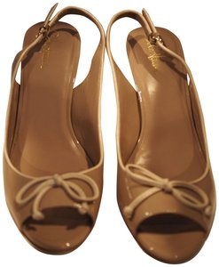Cole Haan Peep Toe Slingback Patent Leather Taupe Pumps
