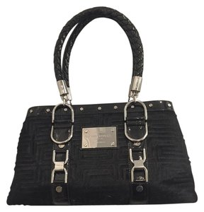 Versace Rare Pony Hair Patent Leather Satchel in black
