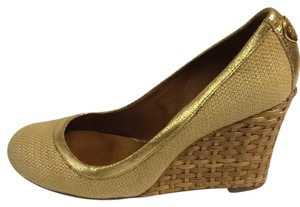 Tory Burch Natural and gold Wedges