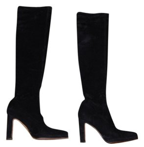 BCBG Suede Knee High Pointy Black Boots