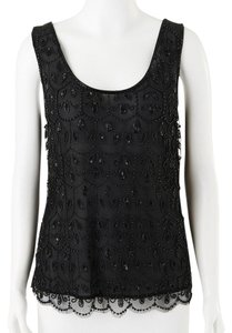 Anthropologie Date Night Evening Embellished Top BLACK