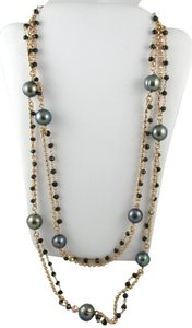 """Honora Honora Cultured Black Pearl 9.0mm and Black Spinel 36"""" Bronze Necklace"""
