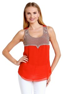Ark & Co. Beaded Sleeveless Going Out Bright Summer Flowy Embellished Ark&co. Sparkle Comfy Comfortable Scoop Neck Top Orange