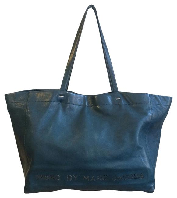 Item - What The 't' Prussian Blue Leather Tote