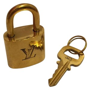 Louis Vuitton A4 Gold tone Brass Cadenas Padlock Key #315 Lock and Key Set LV