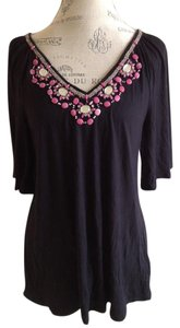 Worthington Embellish Neck Jewel Neck Bell Sleeve Black Tunic Indian Style Top Black Embellished
