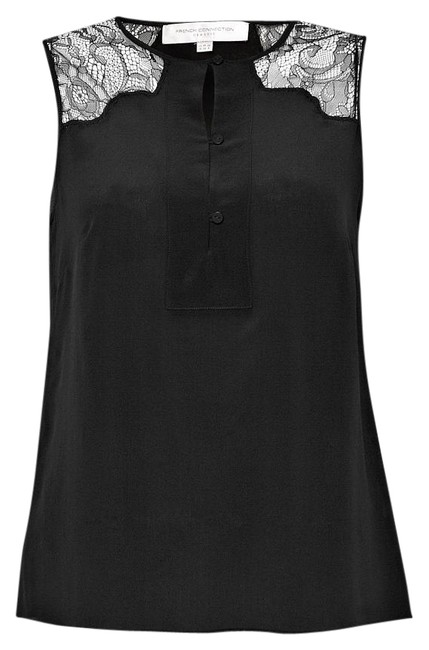 French Connection 100% Silk Lustre Lace Inset Sleevless Top Black - 63% Off Retail new