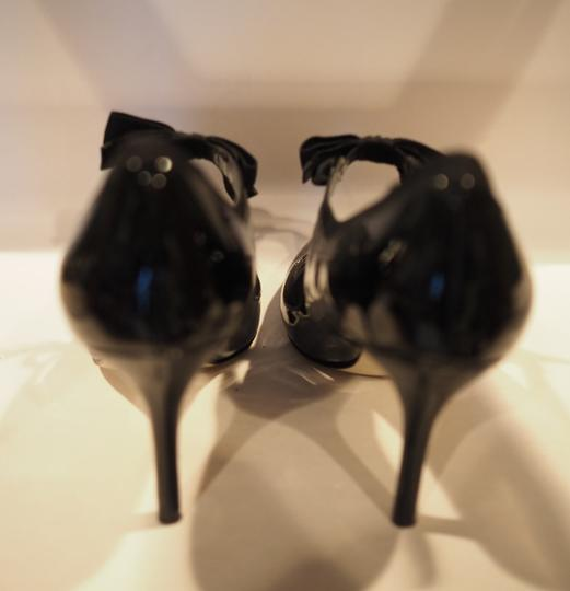 Enzo Angiolini Patent Leather Mary Jane Ribbon Ties Black Pumps