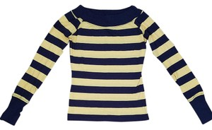 Wet Seal Stripes Boatneck Sailor T Shirt Blue/yellow