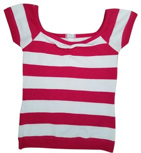 XOXO Striped Cap Sleeves Top Pink/white