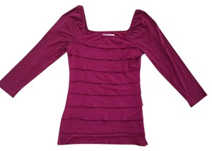M.S.S.P. Tiered Square Neckline Top Burgundy