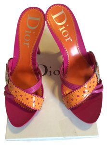 Dior Orange/fuchsia Mules