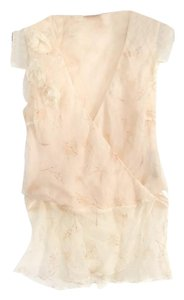 Development Silk Wrap Ruffle Ivory Flower Print Top beige