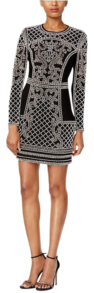 43b49f4d582 Xscape Embellished Long-sleeve Bodycon Black Antique Above Knee ...