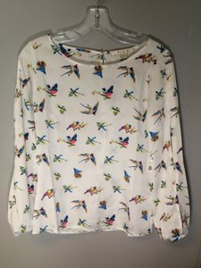 Cooper & Ella Silk Workwear Bird Hummingbird Top White/Print