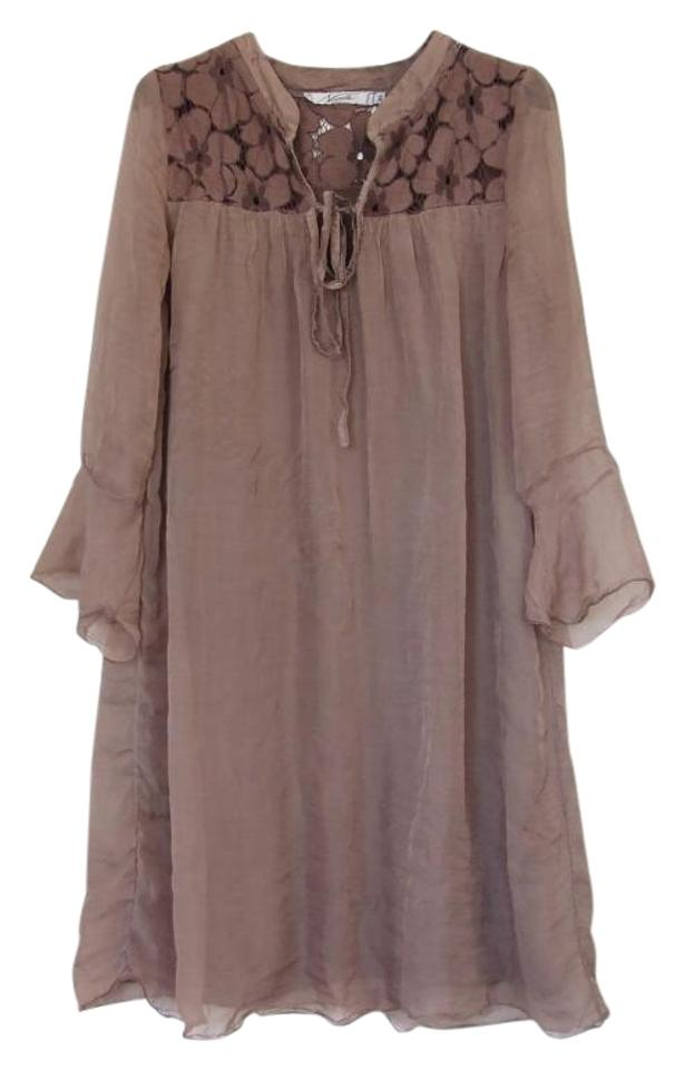 Nicole Brown Silk Lace Long Sleeve Inset Tunic Mid Length Short Casual Dress Size 2 Xs