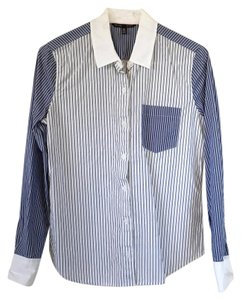 Victoria's Secret Blue Striped Button Down Shirt Blue, White