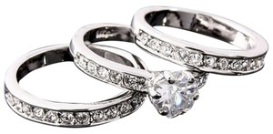Littman Jewelers New 3 Piece Wedding Rings in~18K White Gold With High Quality CZ's, .1.25 TCW, Middle Stone .75 TCW=1.40 TCW.