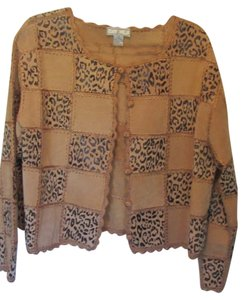S.M.H. Woman tan suede with animal print Leather Jacket