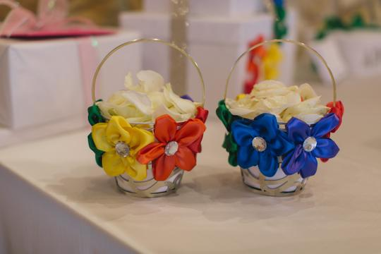 Rainbow Flower Girl Baskets And Sashes