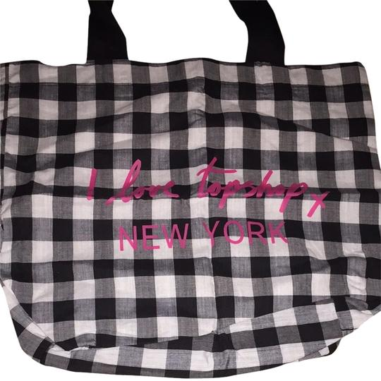 Topshop Tote in Black White Pink