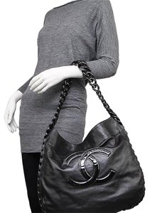 f88b4a10ce7e Chanel Bag Calfskin Rhodoid Modern Chain Large Black Leather Tote ...