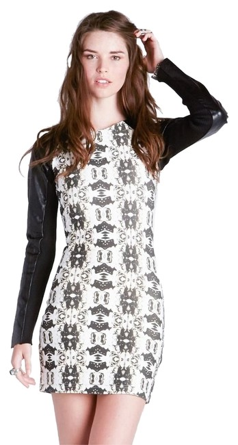 One Teaspoon short dress Black/Creme Leather Sleeved Bodycon Datenight on Tradesy