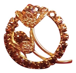 Other Classy Vintage Brown Rhinestone Gold Plated Brooch