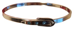 Belt Silver Plated Bangle with Blue Crystals