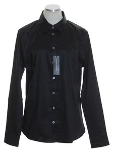 Banana Republic Long Sleeve Solid Fitted Button Down Shirt Black