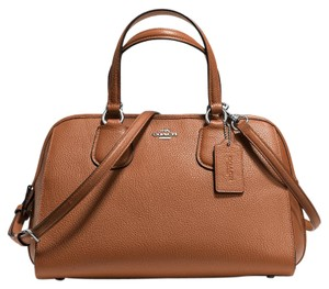 Coach Leather Brown Silver Nolita Satchel in Saddle/Silver