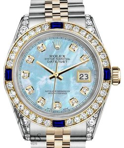 Rolex Ladies Rolex 26mm Datejust Watch Baby Blue MOP Dial Sapphire Diamond