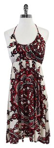 Nieves Lavi short dress Red Beige Print Halter on Tradesy
