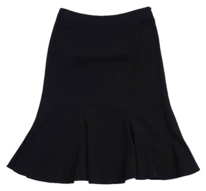 MILLY Black Wool Flared Hemline Skirt