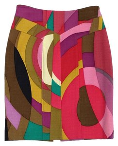 Tracy Reese Multi Color Abstract Print Wool Skirt