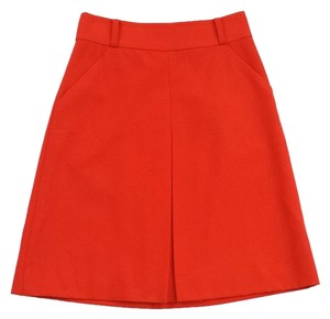 Kate Spade Orange Wool Front Pleat Skirt