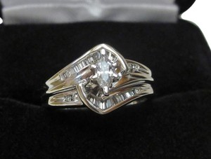 Facets of Fire 10k White Gold Certified Marquise Diamond Wedding Ring Sz 6