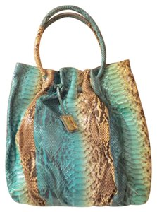 Oscar de la Renta Python Snakeskin Blue Cream Shoulder Bag