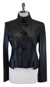 Carlisle Green Leather Snap Button Jacket